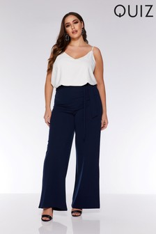 Quiz Curve High Waisted Tie Belt Palazzo Trousers