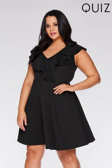 Quiz Curve V neck Frill Skater Dress 1939344cd