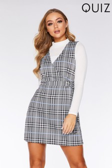 Quiz Cross Over Front Pinafore Dress