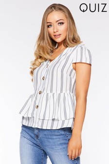 Quiz Stripe Peplum Top