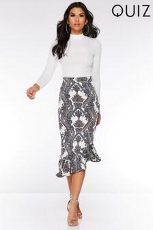 Quiz Printed Midi Skirt