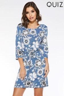 08dbef75519 Quiz Floral 3 4 Sleeve Tie Waist Dress