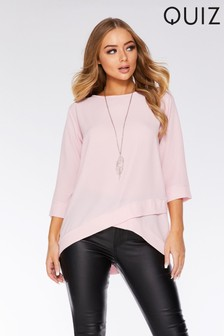 Quiz 3/4 Sleeve Necklace Top