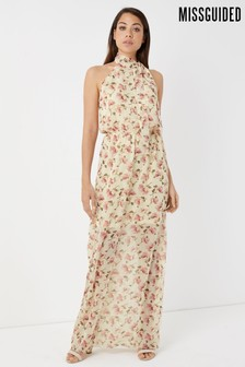 Missguided Floral Neck Tie Maxi Dress