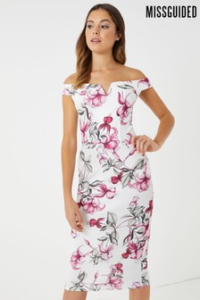 Missguided Floral Bardot Midi Dress