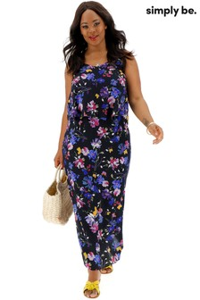 Simply Be Floral Print Layered Maxi Dress