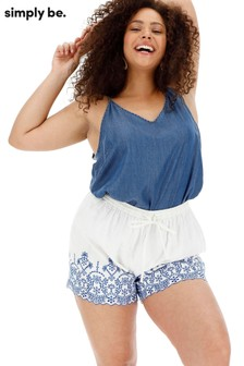 Simply Be Shorts mit Lochstickerei