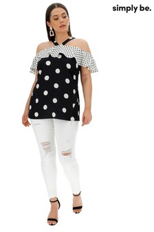 Simply Be Spot Print Frill Cold Shoulder Cross Front Top