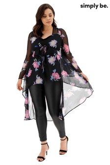 Simply Be Floral Tie Front Layered Kimono