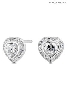 Simply Silver Sterling Silver Heart Halo Stud