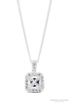 Simply Silver Sterling Silver 925 Cubic Zirconia Square Shaped Halo Pendant Necklace