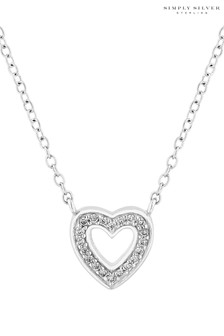 Simply Silver Sterling Silver Open Heart Pendant Gift Box