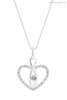 Simply Silver Sterling Silver Infinity Heart Pendant