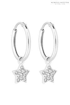 Simply Silver Cubic Zirconia Star Charmed Hoop Earrings
