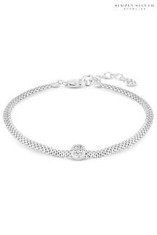 Simply Silver Pave Disc Mesh Bracelet