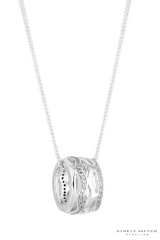 Simply Silver Sterling Silver 925 White Cubic Zirconia Interwoven Short Pendant Necklace