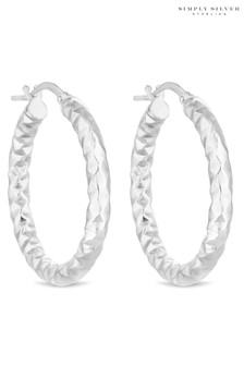 Simply Silver Sterling Silver 925 Silver Hammered Hoop Earring