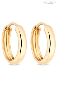Simply Silver12ct Yellow Gold Plated Sterling Silver 925 15mm Hoop Earring