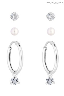 Simply Silver Sterling Silver 925 Clear Cubic Zirconia 3 Pack Hoop Earring