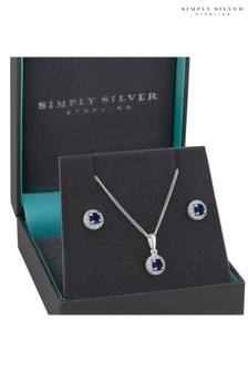 Simply Silver Sterling Silver 925 Blue Cubic Zirconia Halo Jewellery Set