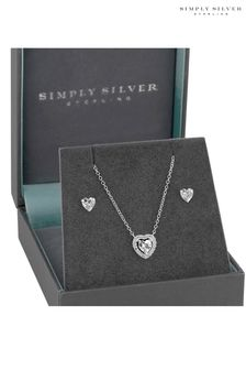 Simply Silver Sterling Silver Halo Heart Set