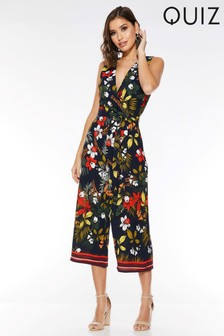 Quiz Tropical Print Culotte Jumpsuit