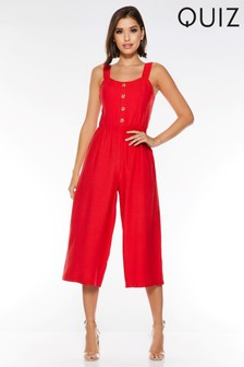 Quiz Square Neck Button Front Culotte Jumpsuit