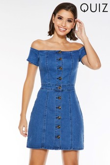 Quiz Denim Bardot Button Front Dress