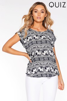 Quiz Print Cap Sleeve Top