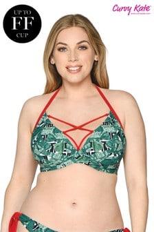 Góra bikini wiązana na szyi DD Curvy Kate Paradise, z motywem palm+