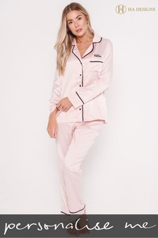Personalised Sleep Satin Luxe Long Sleeve Pyjama Set by HA Design