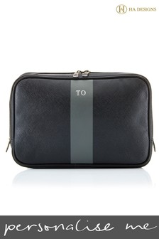Personalised Saffiano Striped Wash Bag By HA Designs