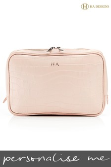Personalised Leather Croc Wash Bag By HA Designs