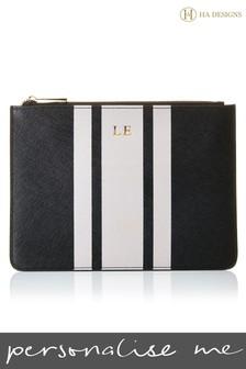 Personalised Saffiano Stripe Pouch By HA Designs