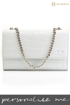 Personalised Leather Croc Chain Bag By HA Designs