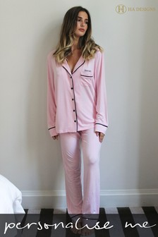 Personalised Jersey Long Sleeve Pyjama Set By HA Designs