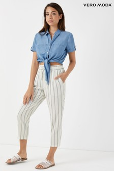 Vero Moda Petite Summer Linen Blend Stripe Trousers