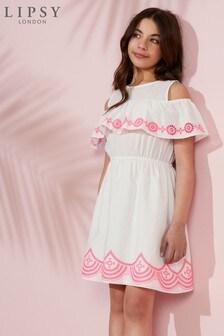 Lipsy Girl Neon Embroidery Dress