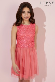 Lipsy Girl Mesh Sequin Bodice Occasion Dress