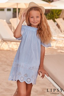 Lipsy Girl Bardot Embroided Beach Dress