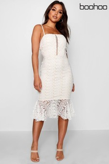 Boohoo Flippy Hem Midi Lace Dress