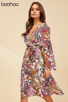 Boohoo Paisley Tiered Wrap Midi Dress