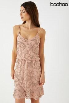 Boohoo Embellished Flippy Hem Dress
