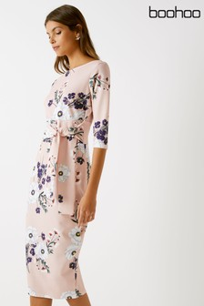 Boohoo Floral Print Crepe Bodycon Midi Dress