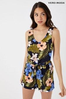 Vero Moda Petite Tropical Print Sleeveless Playsuit