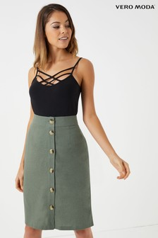 Vero Moda Linen Mix  Petite Normal Waist Skirt