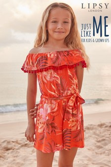Lipsy Girl Tropical Frill Playsuit