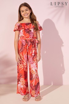 Lipsy Girl Tropical Frill Jumpsuit
