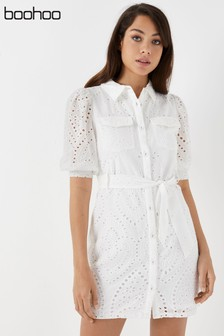 Boohoo Broderie Shirt Dress