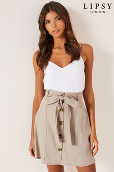 Lipsy Linen Blend Mini Skirt